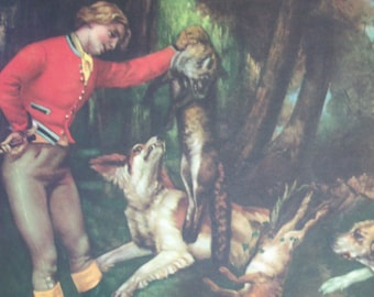"""Art Print 1937 After The Hunt"""" by Courbet Metropolitan Museum Of Art 10.5X14 Foxhunting Decor Classic Period Art"""