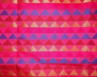 One yard of Indian silk brocade in pink with blue,red and gold