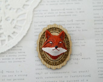 Fox with Wooden Frame Brooch