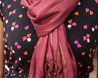 Maroon Cotton Shawl Women- Cotton Scarf with Gold Lining-Beach Cotton Shawl