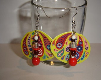 Upcycle earrings butterfly wings red czech glass beads cute jewelry paisley design