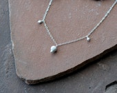 Silver Necklace, Glittering Pavé Beads and Delicate Chain