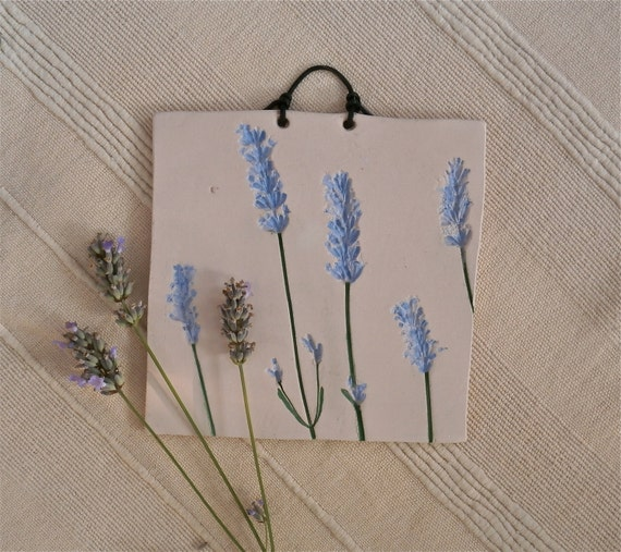Lavender plaque ceramic wall art with by bluebutterflycrafts for Ceramic wall art