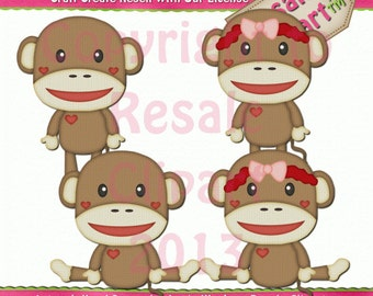 Sock Monkey 1 Clipart (Digital Download)