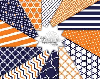Orange and Navy Digital Paper and Printable Backgrounds - Digital Scrapbook Paper in modern designs - Instant Download (DP075G)