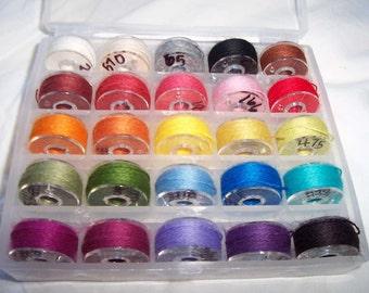 Genziana Wool Thread 25 Color Bobbin Set  #1 for Wool Applique Sue Spargo Colors