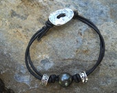 AA GradeTahitian Black Pearl Leather Bracelet with Sterling Silver Beads
