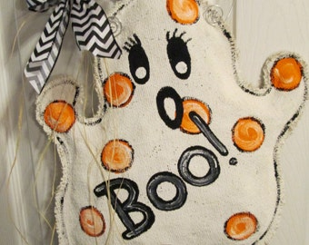 Burlap Ghost Boo Door Hanging Decoration for Halloween