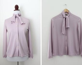 Vintage Lavender Ascot Blouse / The Petite Concept