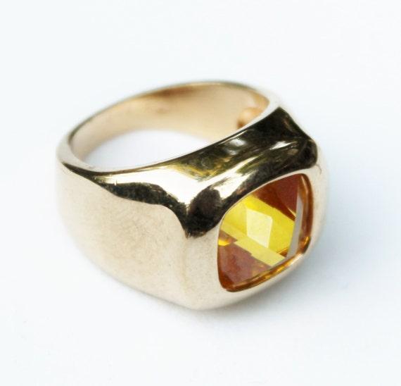 vintage s yellow citrine ring