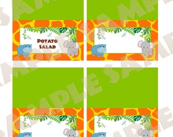 Custom Baby Jungle Safari tent cards, You Print
