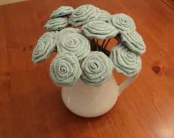 Burlap Flowers with Stems Burlap Wedding Decorations