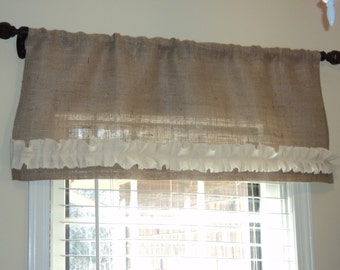 "Natural or Ivory Burlap Valance 52"" Burlap Curtain"