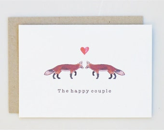 The Happy Couple - with 2 foxes and heart