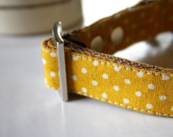 Canvas Cotton Linen Mustard Yellow Polka Dot Dog Collar