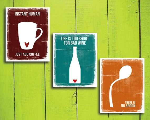 articoli simili a divertente cucina stampe set di 3 caff vino e nessun cucchiaio modern home decor cottura cucina decorazione arte minimalista