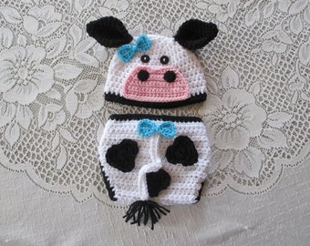 READY TO SHIP - 0 to 3 months size - Crochet Cow or Bull Beanie Hat and Diaper Cover - Farm Animals - Photo Prop