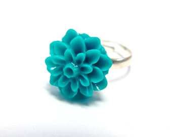 Turquoise Mum Ring - Flower Ring - Aqua  - Teal Blue Floral Accessory - Chrysanthemum Garden Jewelry - Adjustable Silver Band - Preppy