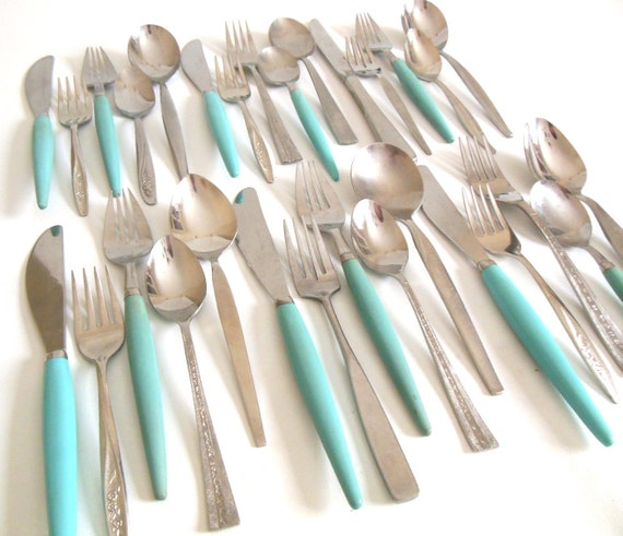 Turquoise Kitchen Flatware Set Service For 6 Mismatched Atomic