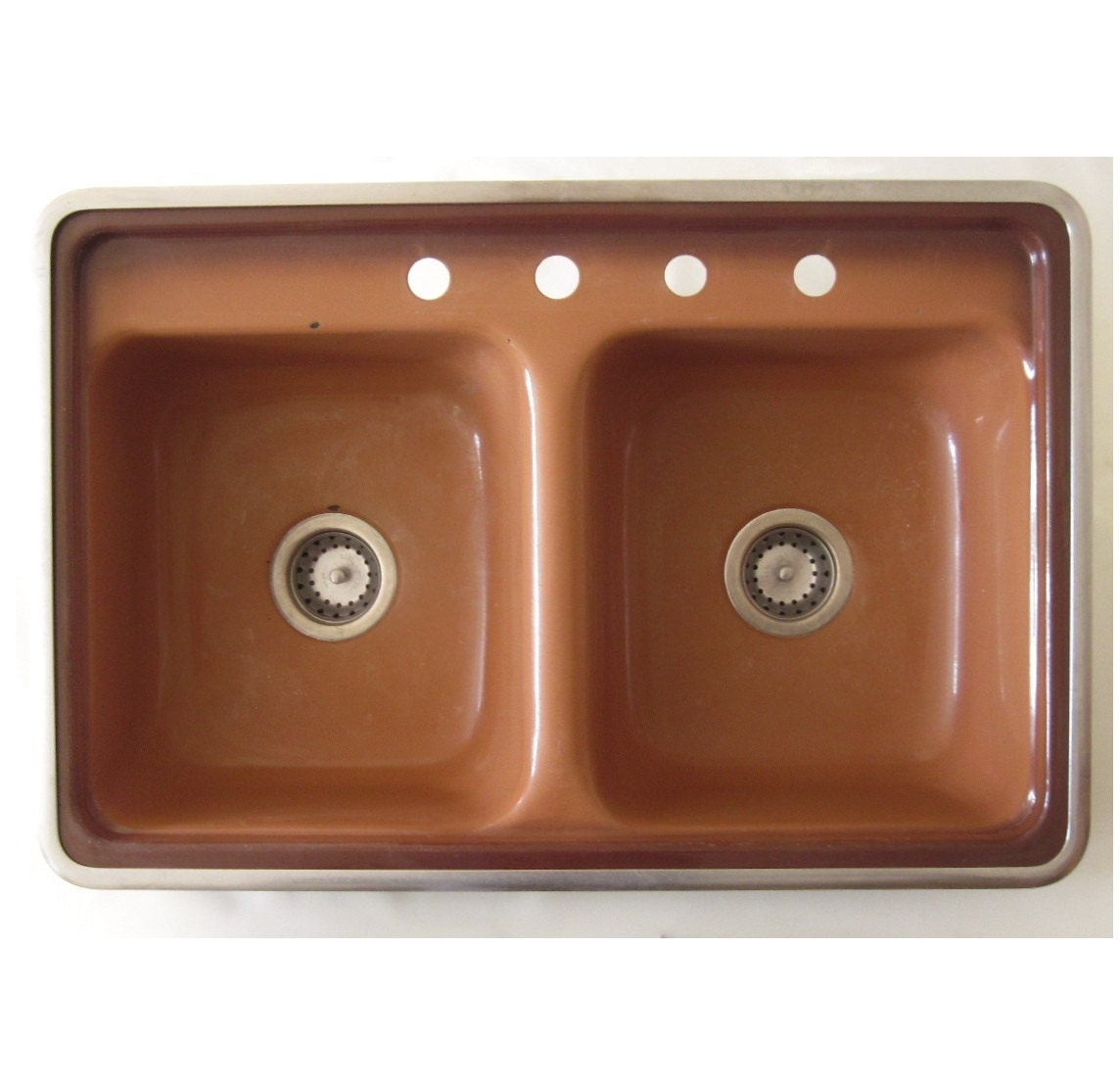 mid century kitchen sink hudee ring brown enamel architectural