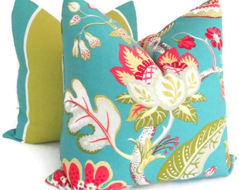Aqua, Pink, Green, Yellow Tropical St. Thomas Indoor Outdoor Decorative Pillow Cover, 18x18, 20x20 or 22x22, accent pillow, throw pillow