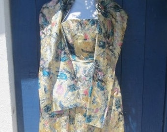 Vintage Dress and Wrap Cotillion Formals Metallic Gold Blue Pink Small