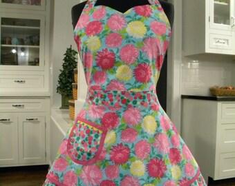 SALE-Apron-Flowers & Confetti Dots Double Skirt Sweetheart Apron-30% OFF
