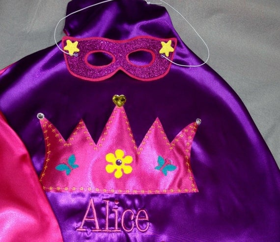 Boys & Girls PERSONALIZED CAPES matching cuffs mask for birthday party favors special occasion gifts for kids