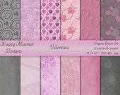 Valentine Digital Paper Printable Patterned Backgrounds - 12 designs, 300 dpi, jpg - VALENTINA