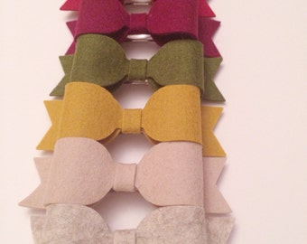Three Autumn Warmth Felt Bow Barrettes