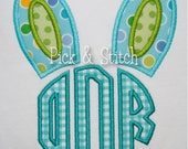 Bunny Ears Monogram Topper Applique Design Machine Embroidery INSTANT DOWNLOAD