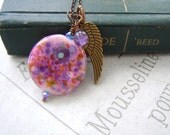 Lampwork Feather Necklace Pink Purple Gifts Accessories