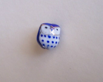 Lot Set of 3 Ceramic Hand Painted Owl Beads Blue Gold and White Presented