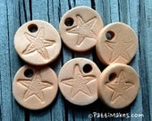 """2 Small 7/8""""  Sea Star Terra Cotta Essential Oil Diffusers / Hand Stamped and Cut"""