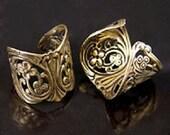 6 Adjustable Filigree Ring Base Platforms, 20mm, Vintage gold  or silver, J812