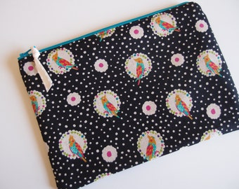 iPad mini zipper sleeve, cosmetic bag, kawaii zipper bag by Tomodachi Kitty (Ready to Ship)