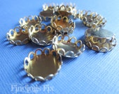 60X - raw brass lace edge round setting for 12mm cabochon