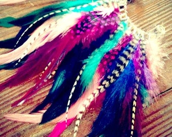 Handmade Feather Ear Cuff, Earring,Grizzly Feathers, Colorful, Festival,Hippie, Bohemian, Tribal, Aztec
