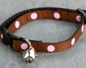 Cat Collar - Chocolate Strawberry Polka Dot Cupcake