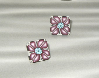 Magenta Bloom with White, Gray and Teal Polymer Clay, Square Post Earrings