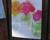 "Rustic Garden Series ""Painted Zinnias In Canning Jars"" Greeting Card"