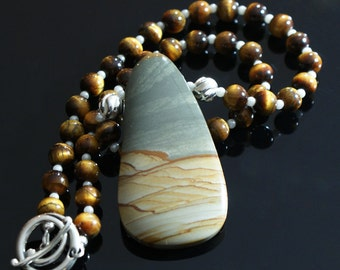 Cripple Creek Picture Jasper Pendant with Tiger Eye Beads Sterling Silver Necklace