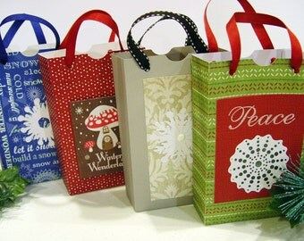 Decorative Christmas Gift/Treat Bags - Set of 4