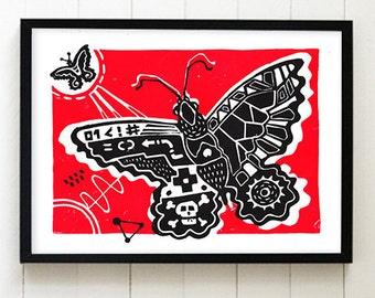 Butterfly Linocut Black & Red (210×297mm)