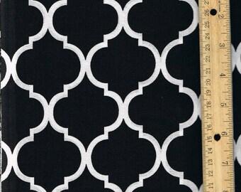 "85483 - Niagra Mills  Medium 2 1/2""  Quatrefoil  cotton fabric White on Black  color- 1 yard"