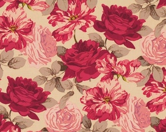 62502 -  Martha Negley Rose garden collection PWMN070 Striped rose in natural color cotton fabric- 1 yard