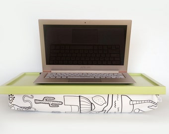 iPad desk or Laptop Lap Desk - Light green with white pillow, fun drawing patter in black