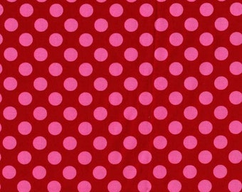 SALE Cotton fabric - Berry Ta Dot from Michael Miller basics - pink dots on berry background dot fabric yardage