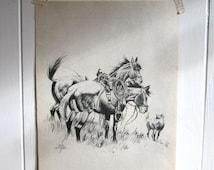 Horse Sketch, Horse Head, Vintage Horses Illustration, Black and White, Cabin Art, Rustic Cabin Art, Horse, Horse to Frame, Horse Lover Gift
