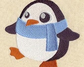 Perky Winter Penguin Embroidered Flour Sack Hand/Dish Towel